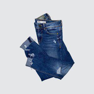Zara Mid Rise Premium Wash Distressed Skinny Jeans